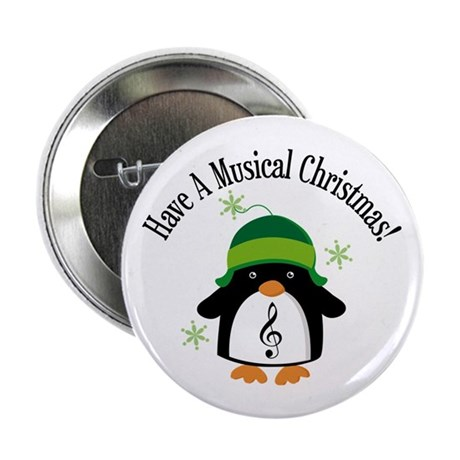 "Musical Christmas Penguin Gift 2.25"" Button (10 pa"