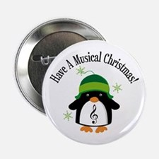 "Musical Christmas Penguin Gift 2.25"" Button"