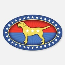 Yellow Dog Sticker (Oval)