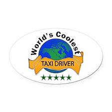 Unique Taxi cab Oval Car Magnet