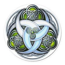 Celtic Triple Crescents - Green Round Car Magnet
