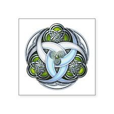 """Celtic Triple Crescents - Green Square Sticker 3"""""""