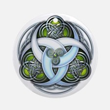 Celtic Triple Crescents - Green Ornament (Round)