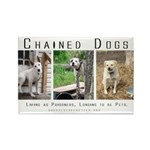 3 Chained Dogs: Longing to be Rectangle Magnet