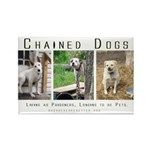 3 Chained Dogs: Longing to be Rectangle Magnet (10