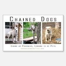 3 Chained Dogs: Longing to be Sticker (Rectangular