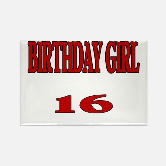 Birthday Girl 16 Rectangle Magnet