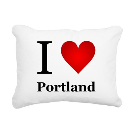 I Love Portland Rectangular Canvas Pillow