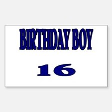 Birthday Boy 16 Rectangle Decal