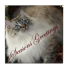 Christmas Ragdoll Cat Tile Coaster