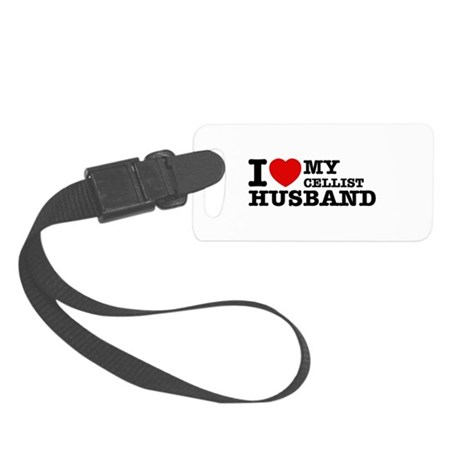 I love my Cellist husband Small Luggage Tag