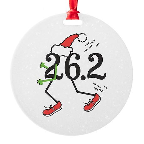 Holiday 26.2 Marathoner Round Ornament