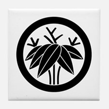 root bamboo grass in circle Tile Coaster