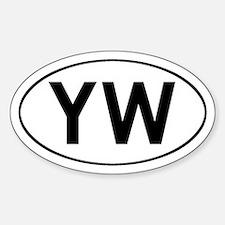 Oval YW logo Oval Bumper Stickers