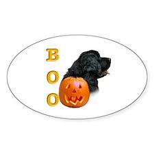 Halloween Black Newfoundland Boo Oval Decal