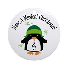 Musical Christmas Penguin Gift Ornament (Round)