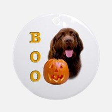 Halloween Brown Newfoundland Boo Ornament (Round)