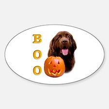 Halloween Brown Newfoundland Boo Oval Decal