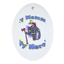 Cute Woman firefighter Oval Ornament