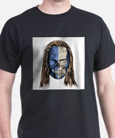 Braveheart Skull With Hair Ash Grey T-Shirt