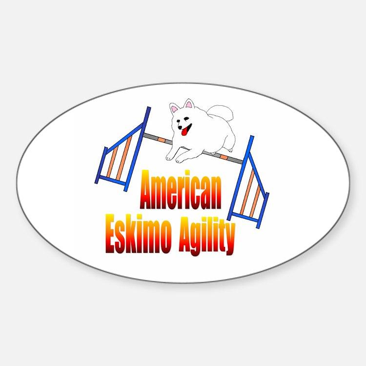American Eskimo Agility Oval Decal