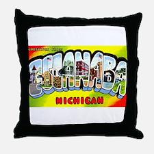 Escanaba Michigan Greetings Throw Pillow