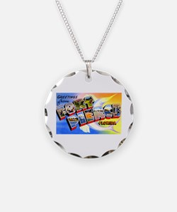 Fort Pierce Florida Greetings Necklace Circle Char