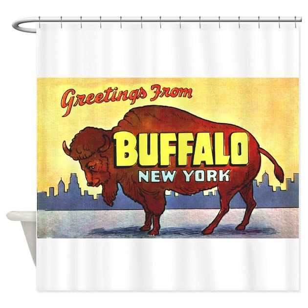 Buffalo New York Greetings Shower Curtain By W2arts