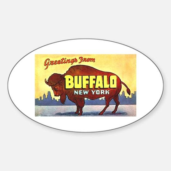 Buffalo New York Greetings Sticker (Oval)