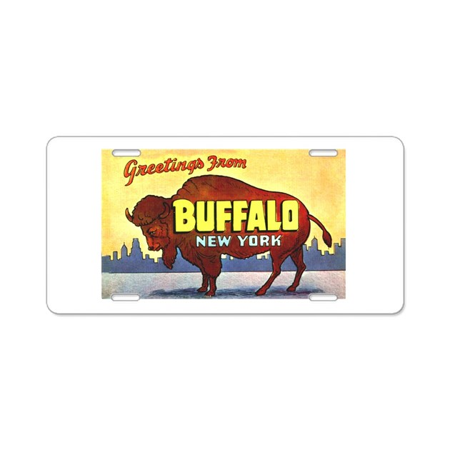 Buffalo New York Greetings Aluminum License Plate By W2arts