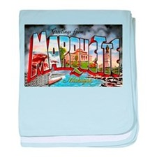 Marquette Michigan Greetings baby blanket