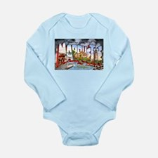 Marquette Michigan Greetings Long Sleeve Infant Bo