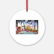 Marquette Michigan Greetings Ornament (Round)