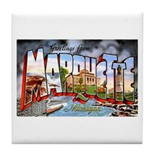Marquette Michigan Greetings Tile Coaster