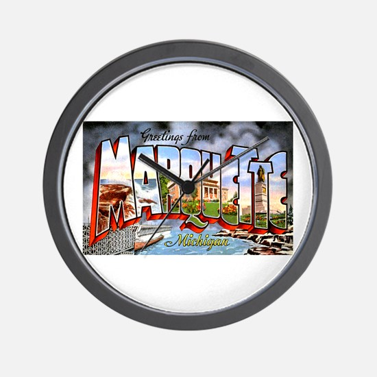 Marquette Michigan Greetings Wall Clock