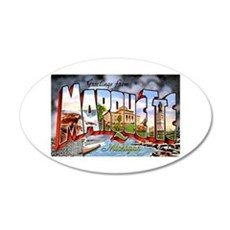 Marquette Michigan Greetings 20x12 Oval Wall Decal