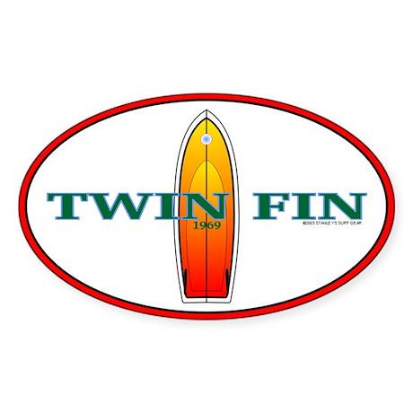 69 Twin Fin Oval Sticker