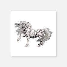"""White Tiger Unicorn Square Sticker 3"""" x 3&quo"""