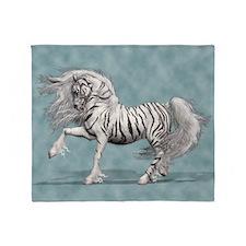 White Tiger Unicorn Throw Blanket