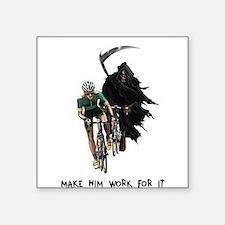 Grim Reaper Chasing Cyclist Square Sticker 3