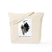 Grim Reaper Chasing Cyclist Tote Bag
