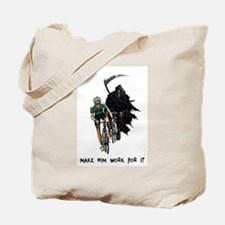 Grim Reaper Chasing Cyclist Tote Bag