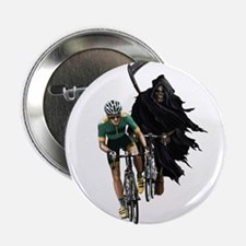 """Grim Reaper Chasing Cyclist 2.25"""" Button"""