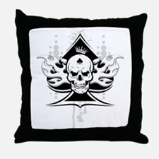 ace of spades skull Throw Pillow
