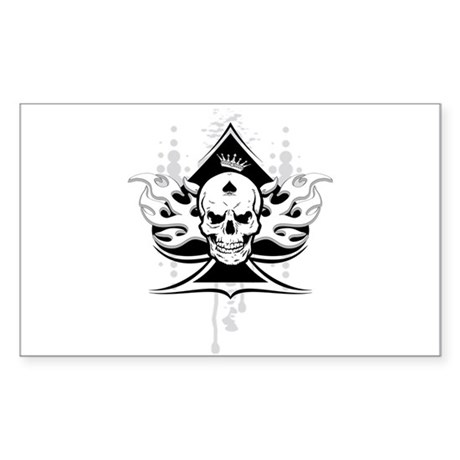 ace of spades skull Sticker (Rectangle)