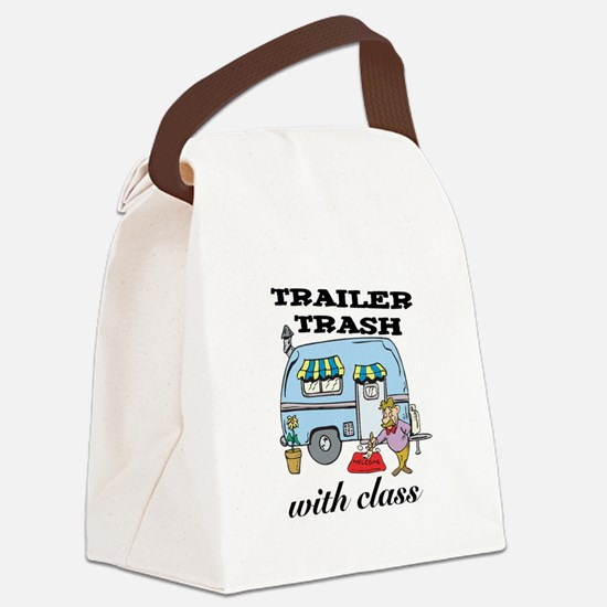 3-trailer trash with class.png Canvas Lunch Bag