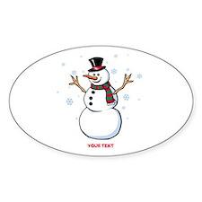 Custom Snowman Sticker (Oval)