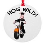 hog wild pig.png Round Ornament