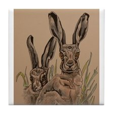 Two Hares Tile Coaster