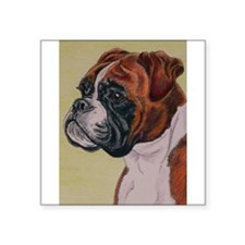 """Red Boxer Dog headstudy Square Sticker 3"""" x 3"""""""